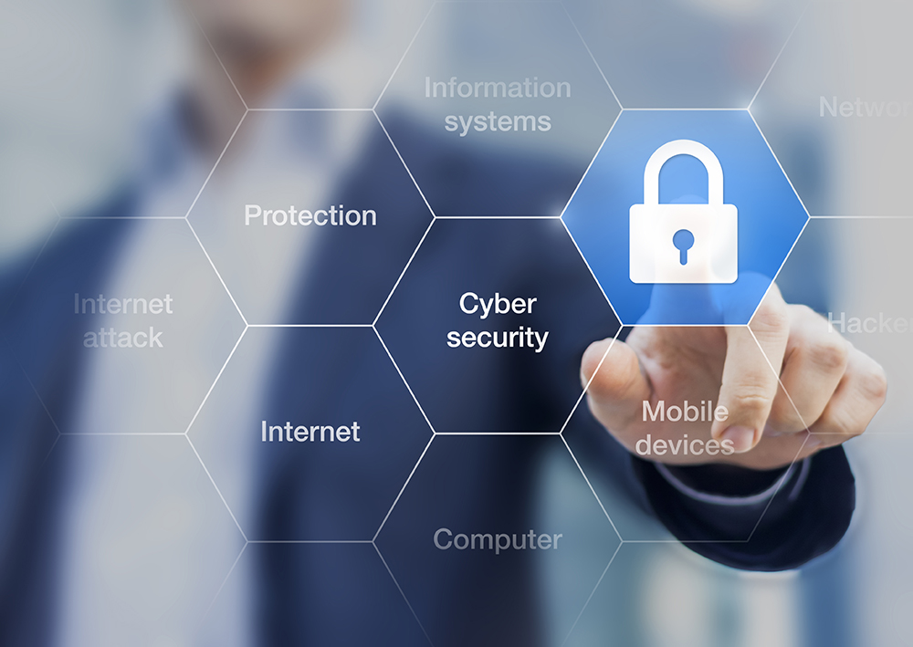 Cyber security concept on virtual screen with a consultant doing presentation in the background